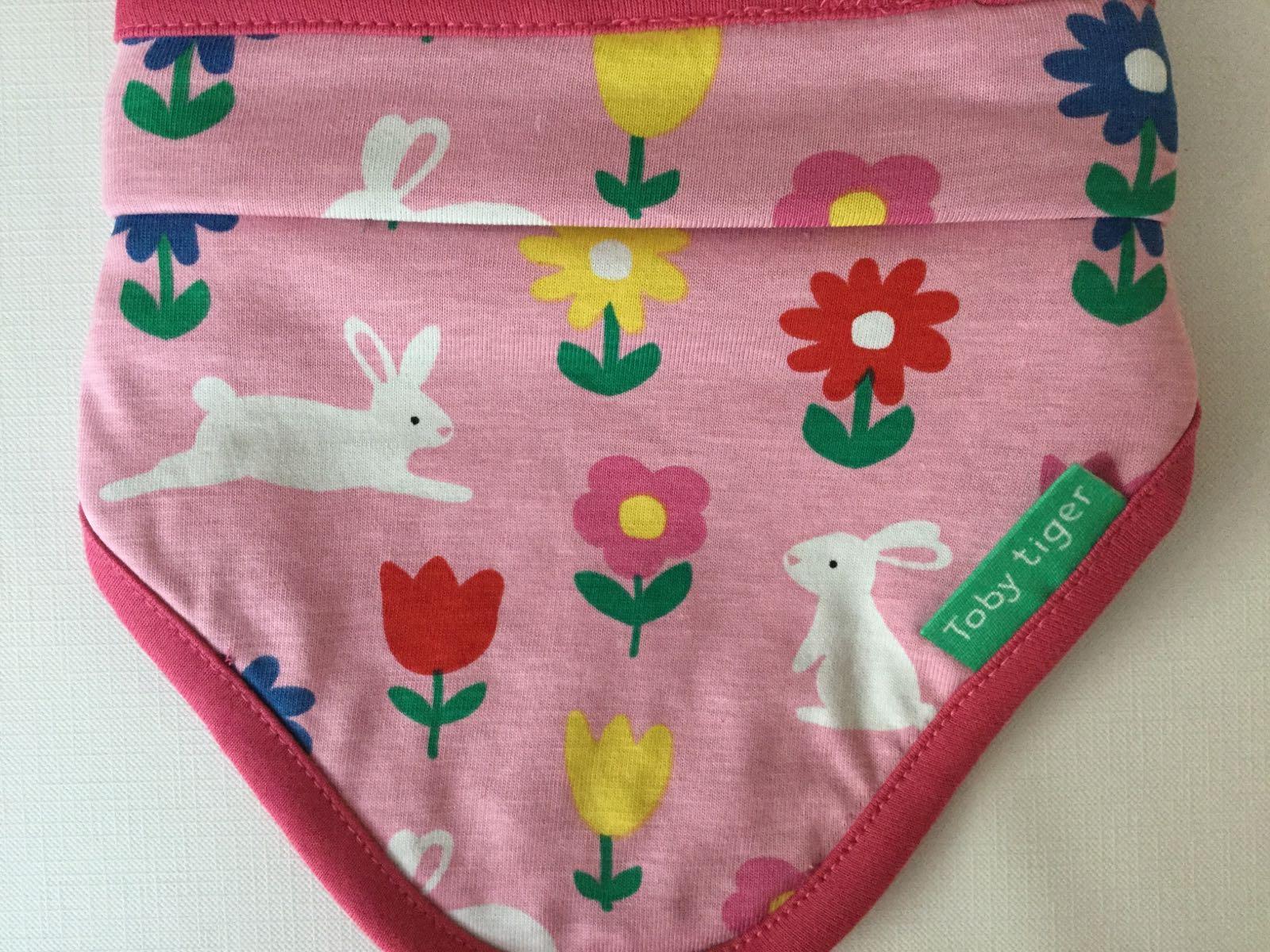 Toby tiger - dribble bib -  Pink bunny