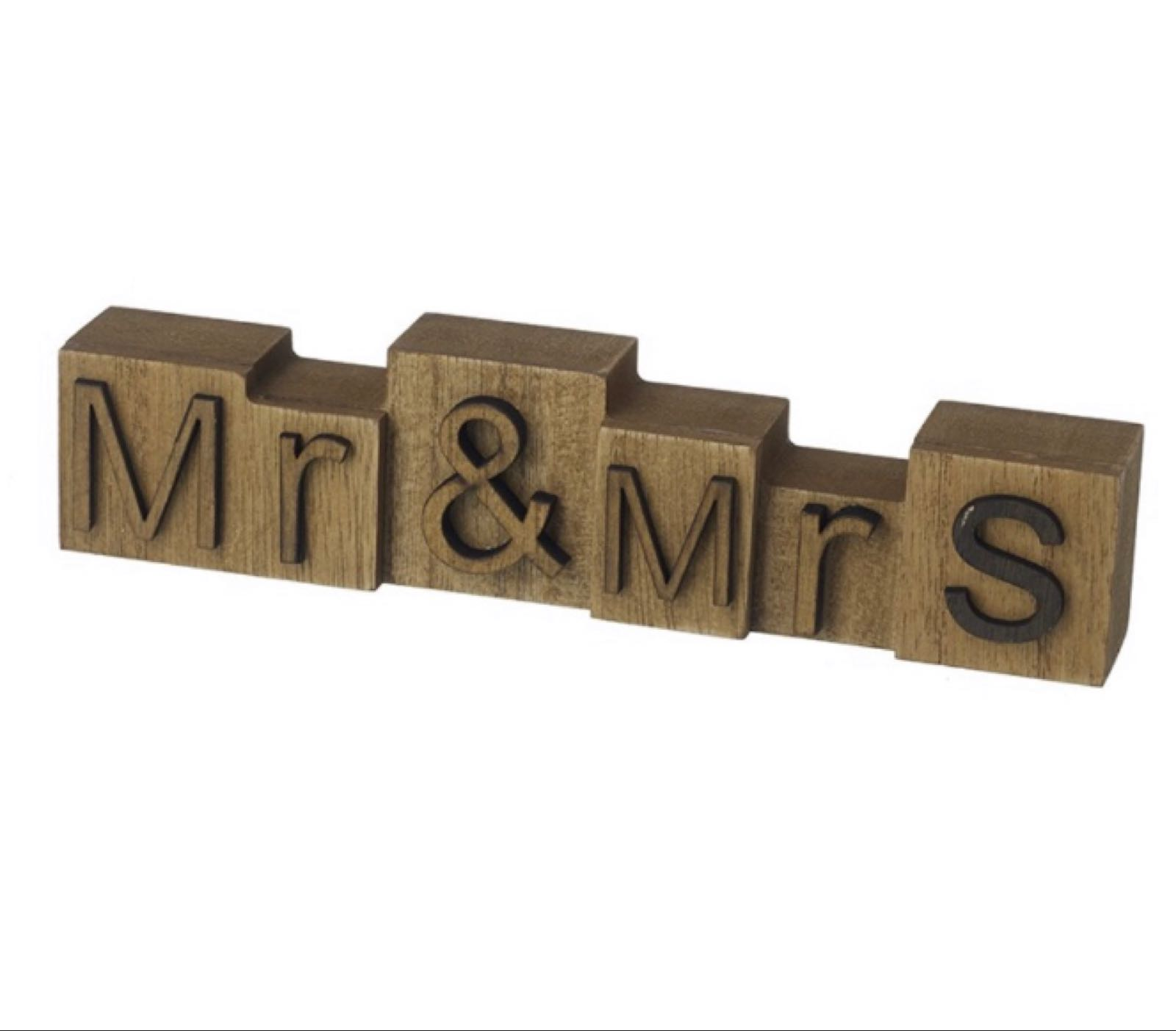 Mr and Mrs wooden block