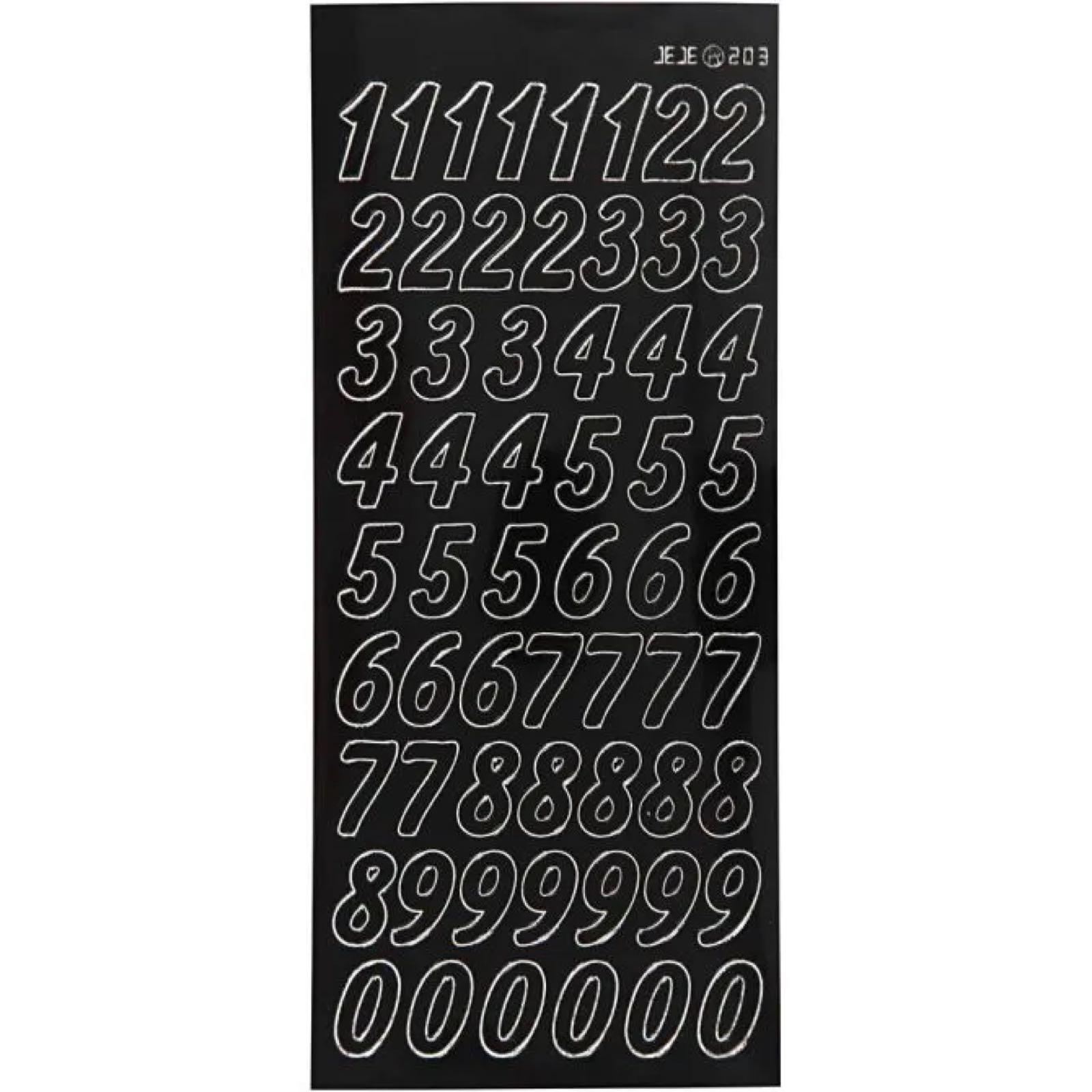 Tall klistremerker / stickers , svart , 2 ark
