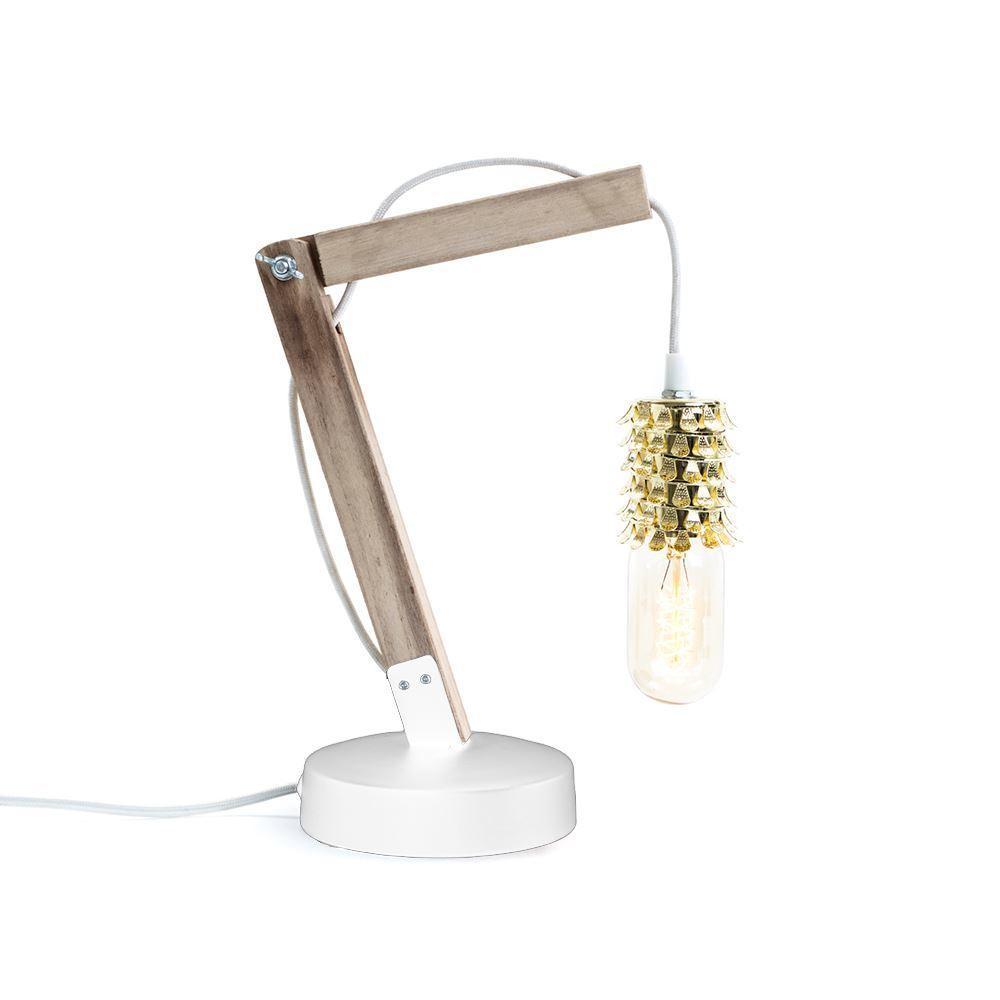 Wooden Crane & Gold Filigree Table Lamp by Dassie Artisan