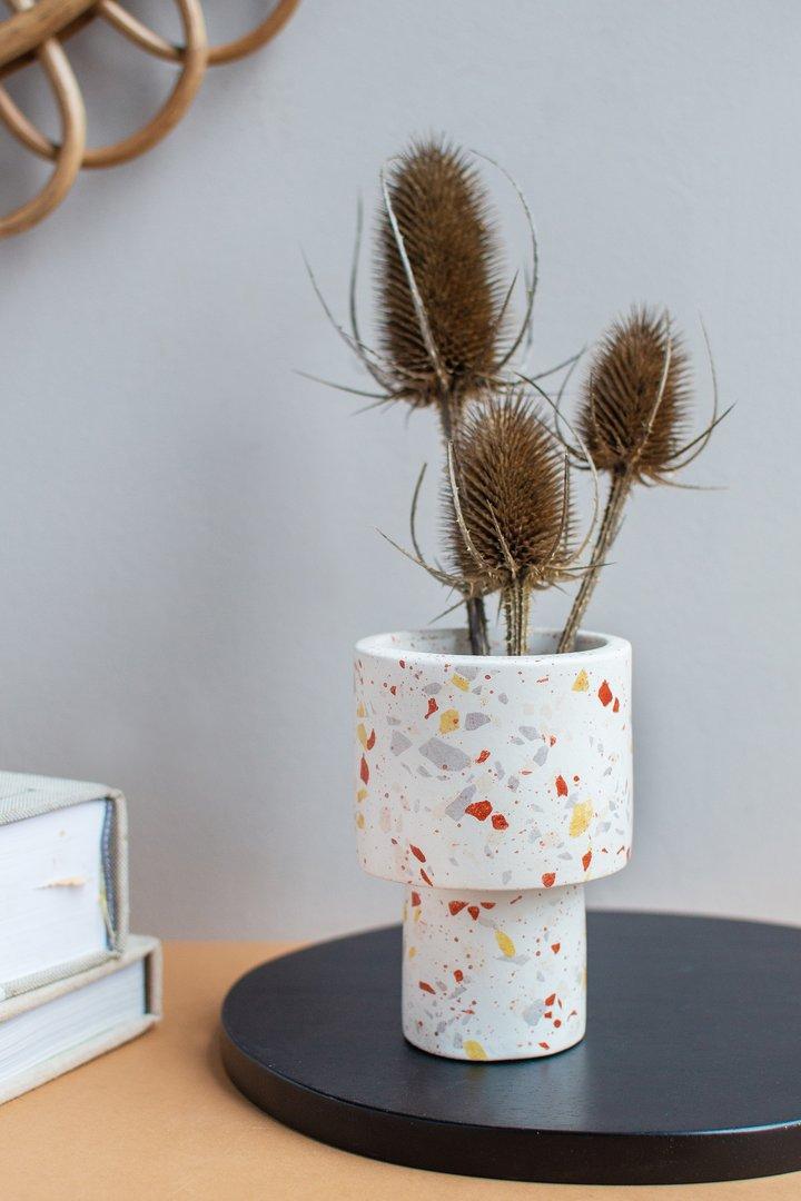 White terrazzo planter by Ian Snow