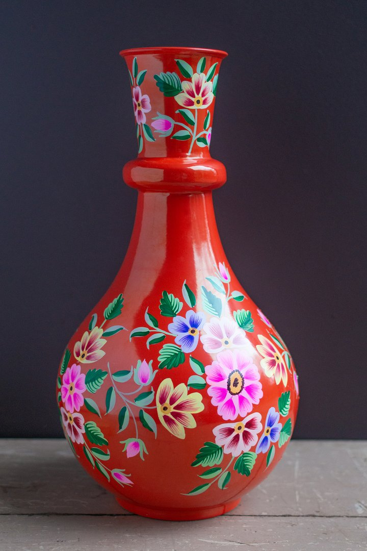 Handpainted iron vase red by Ian Snow
