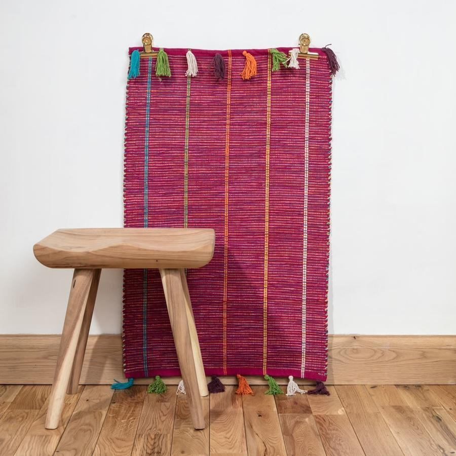 Small Fuschia Hand Woven Cotton Rug With Tassels by Dassie Artisan