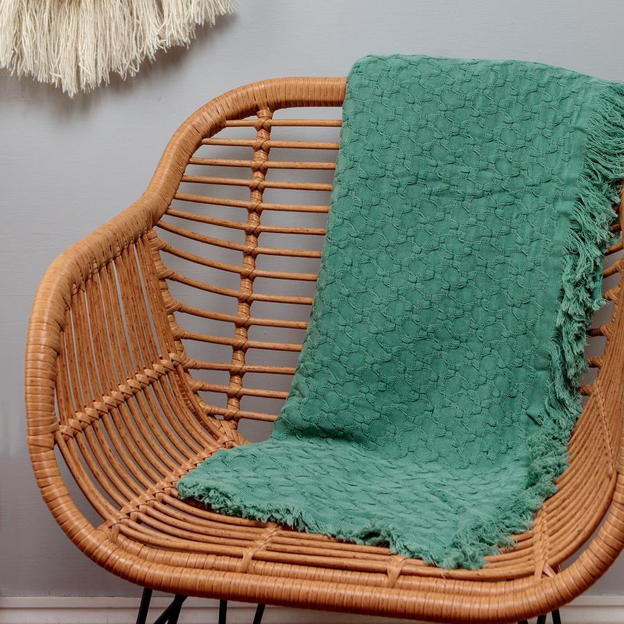 Mint Cotton Throw by Chickidee