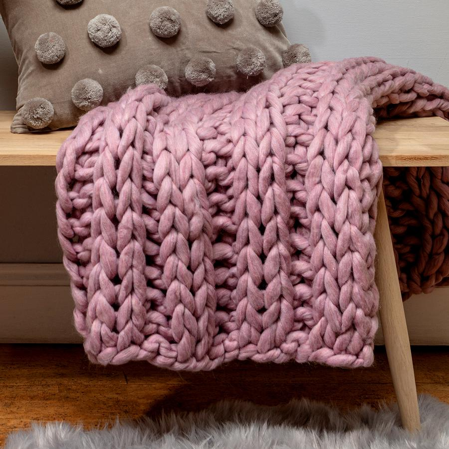 Blush Pink Chunky Knit Throw by Chickidee