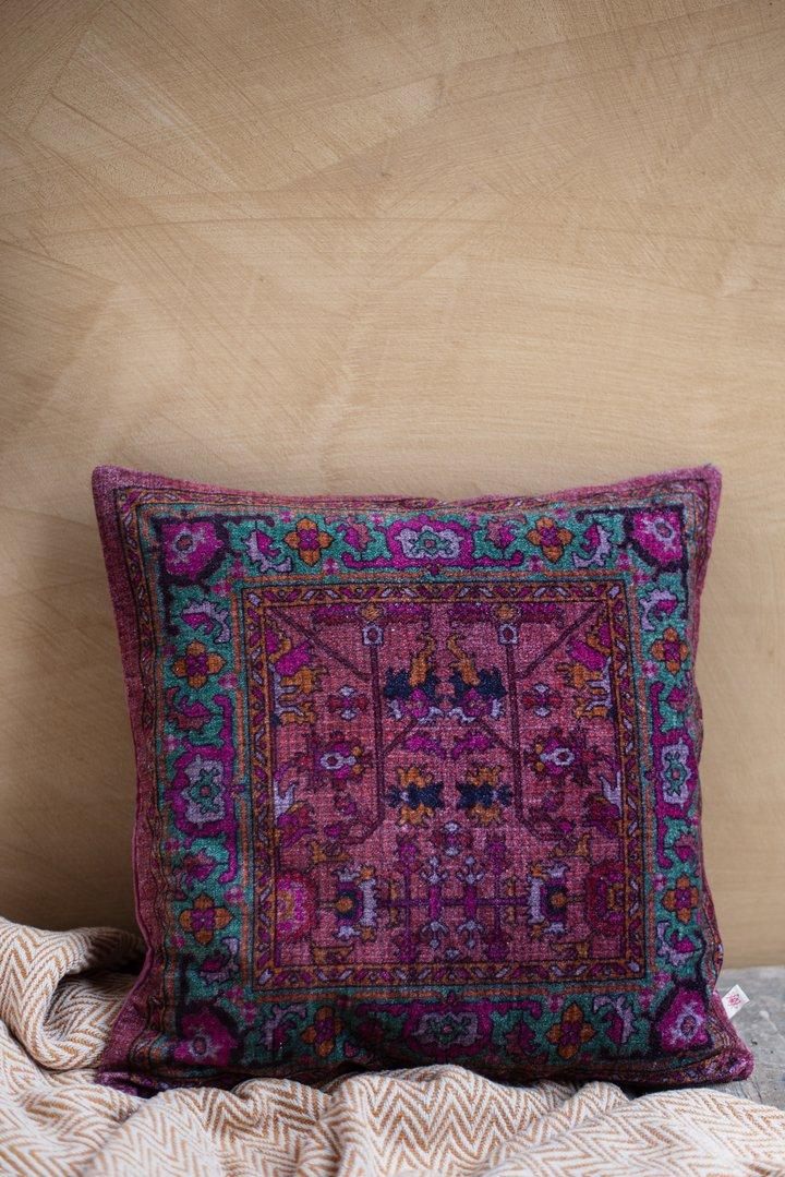 Aubergine digital print kaleidoscope cotton velvet cushion by Ian Snow