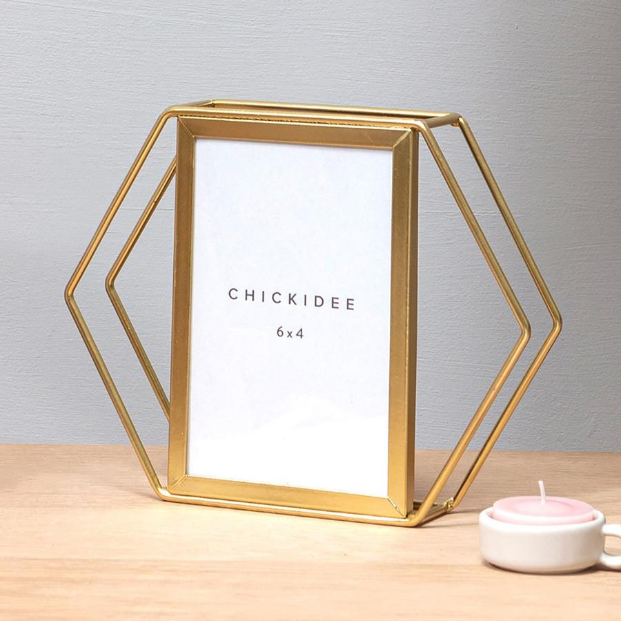 Gold Hexagonal 6x4 Frame by Chickidee