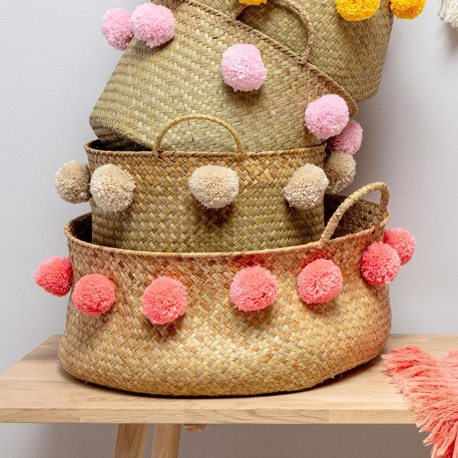 Coral Emilie Pom Seagrass Basket - Large by Chickidee