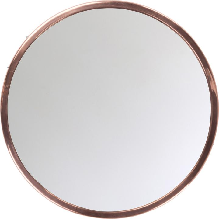 Large round mirror with copper frame by Ian Snow