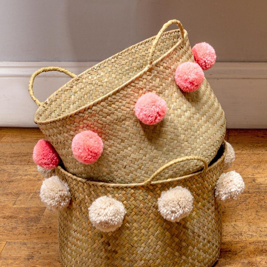 Coral Emilie Pom Seagrass Basket - Small by Chickidee