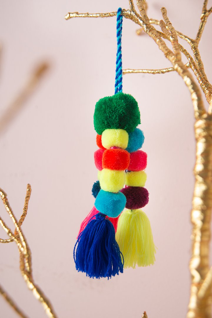 Multi coloured Pom Pom bag charm by Ian Snow