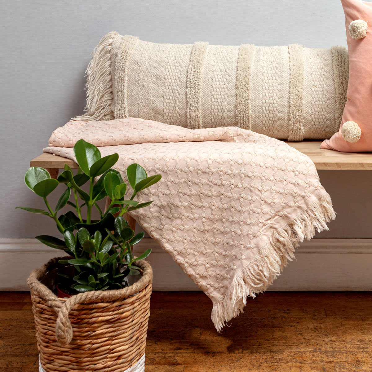 Blush Pink Cotton Throw by Chickidee