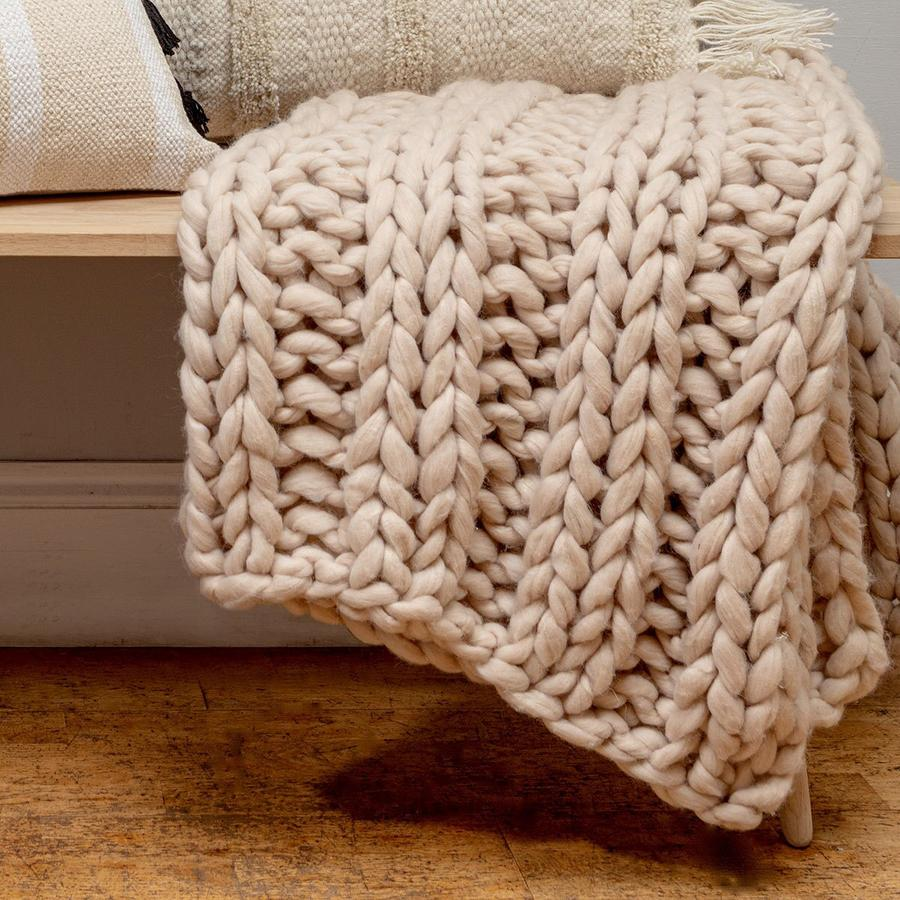 Cream Chunky Knit Throw by Chickidee