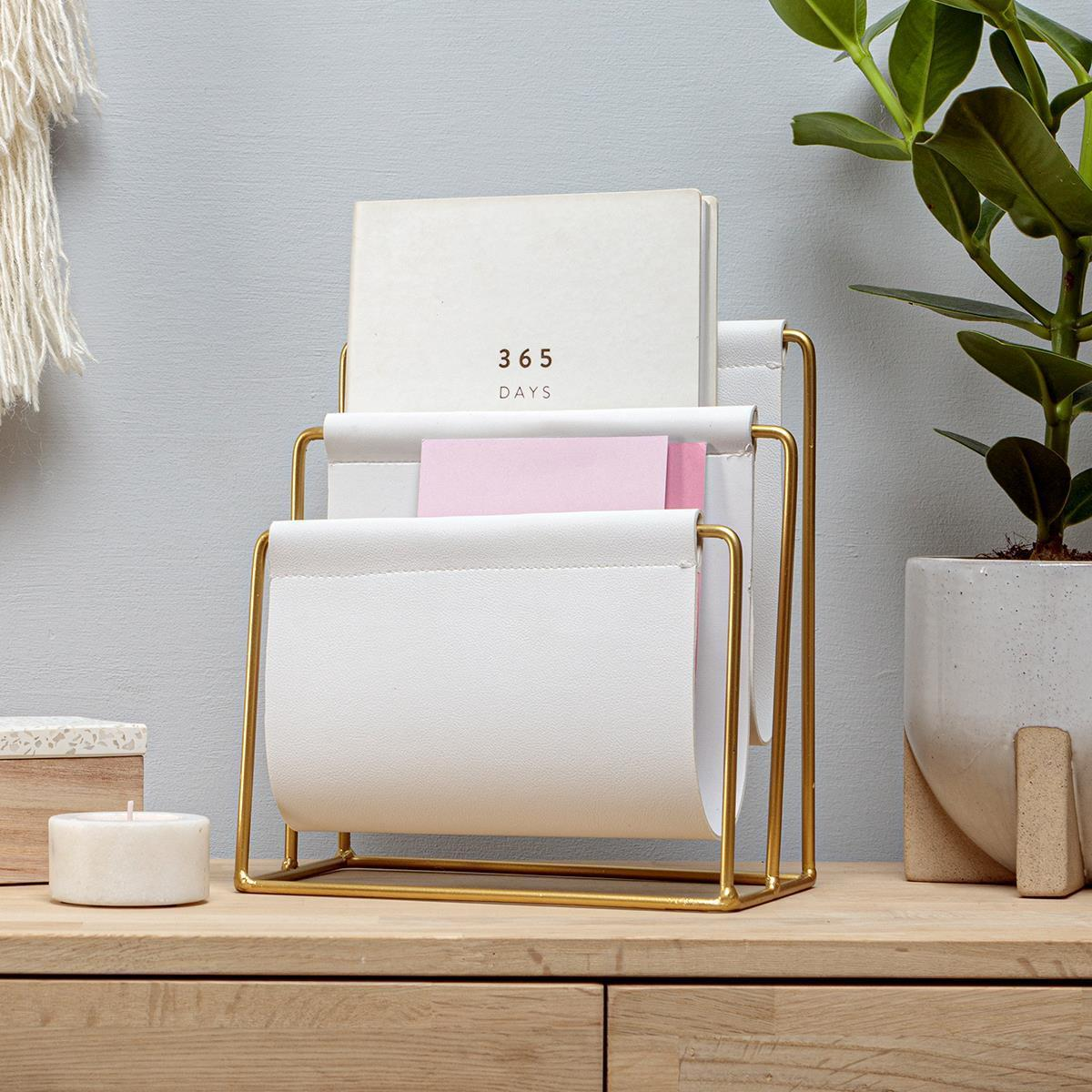 White Sling Letter Holder by Chickidee