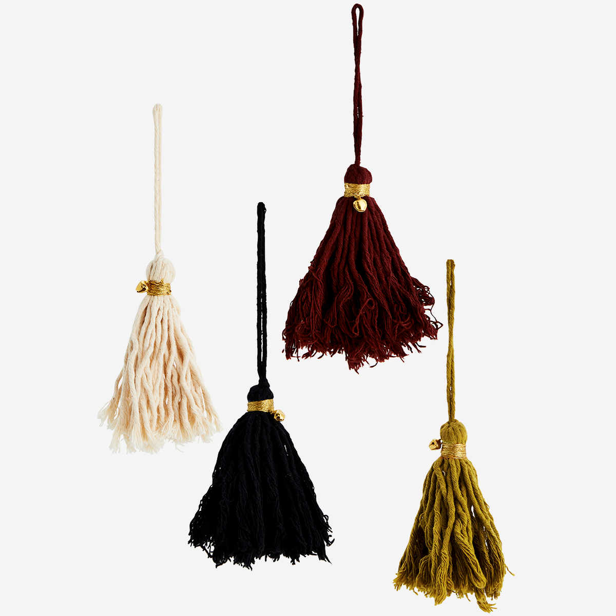 Set of 4 Cotton Tassels with Bells