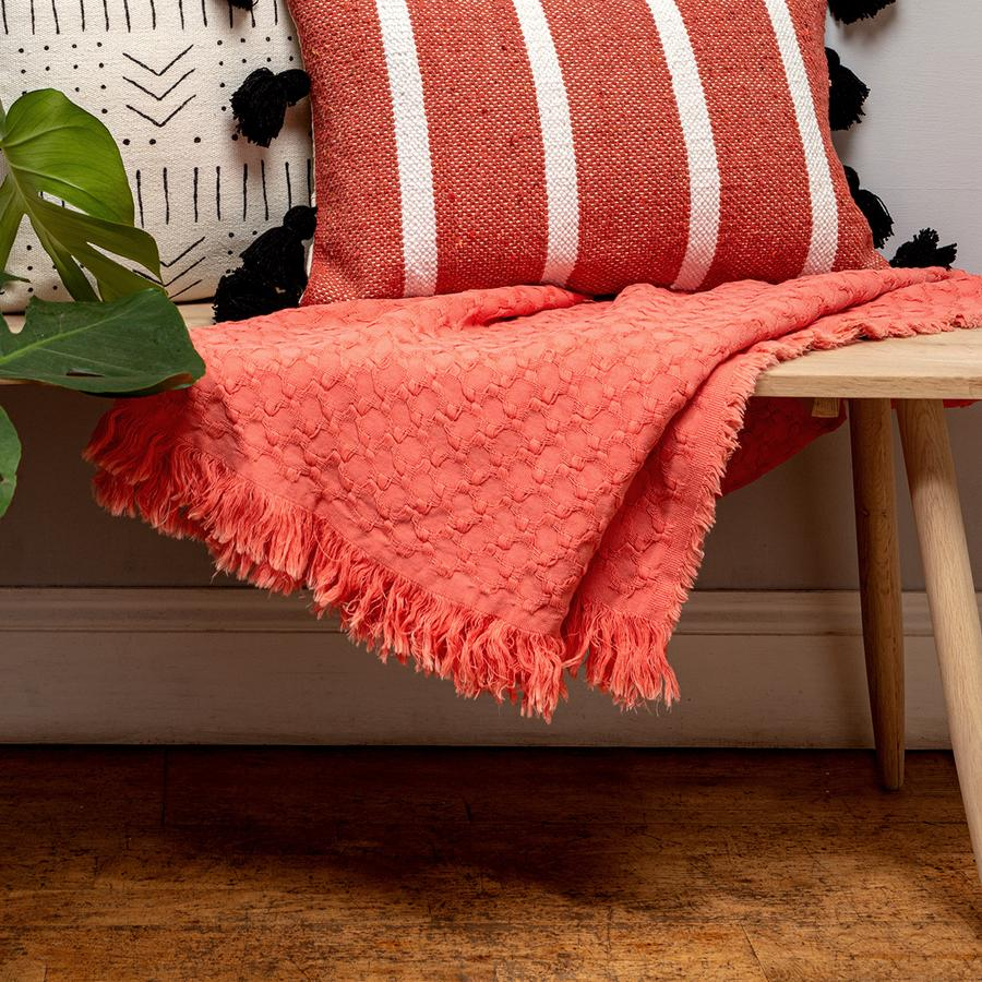 Coral Cotton Throw by Chickidee