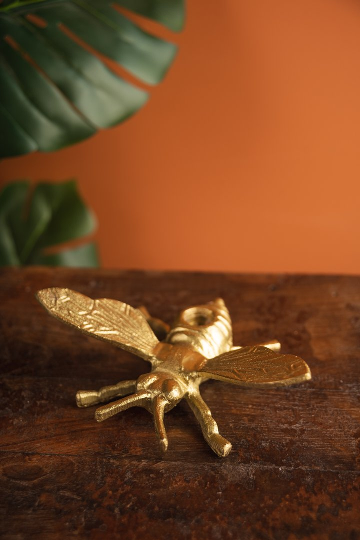 Gold Finish Bee Candle Holder