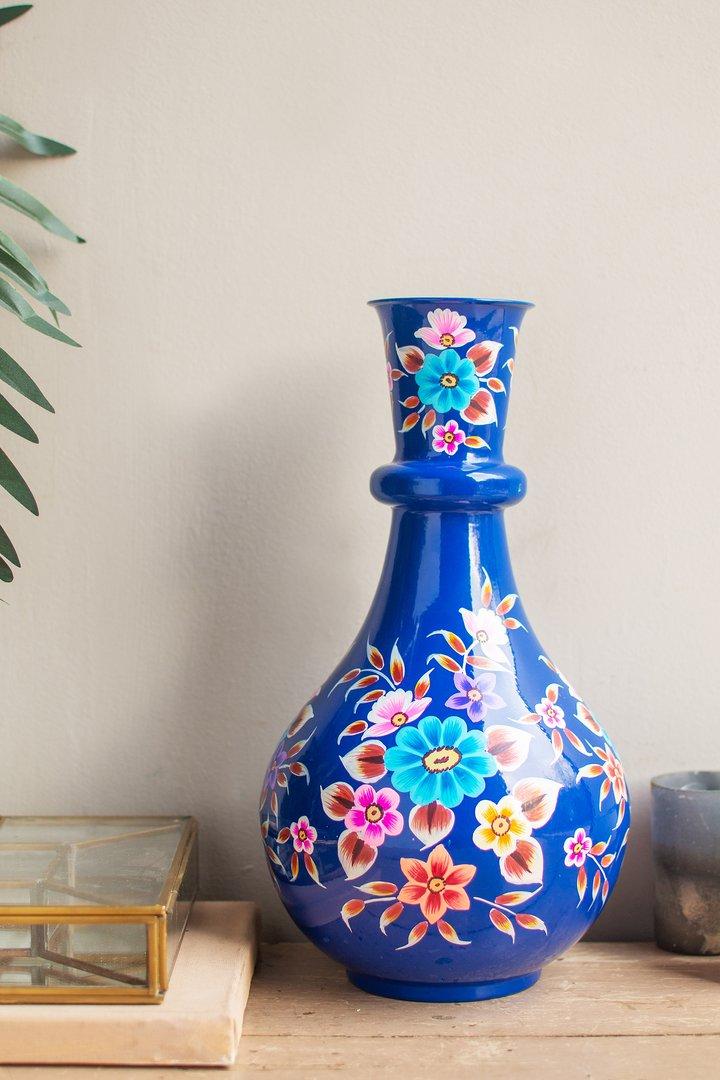 Handpainted iron vase blue by Ian Snow