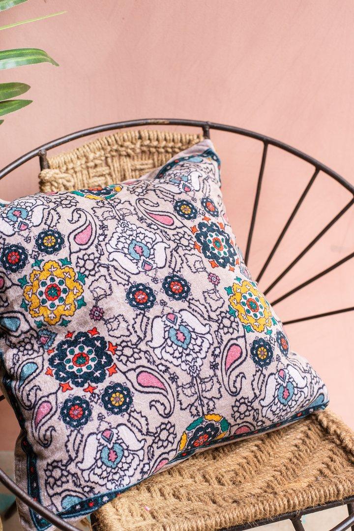 Cream digital print kaleidoscope cotton velvet cushion by Ian Snow