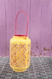 Yellow & red pierced enamelled lantern by Ian Snow