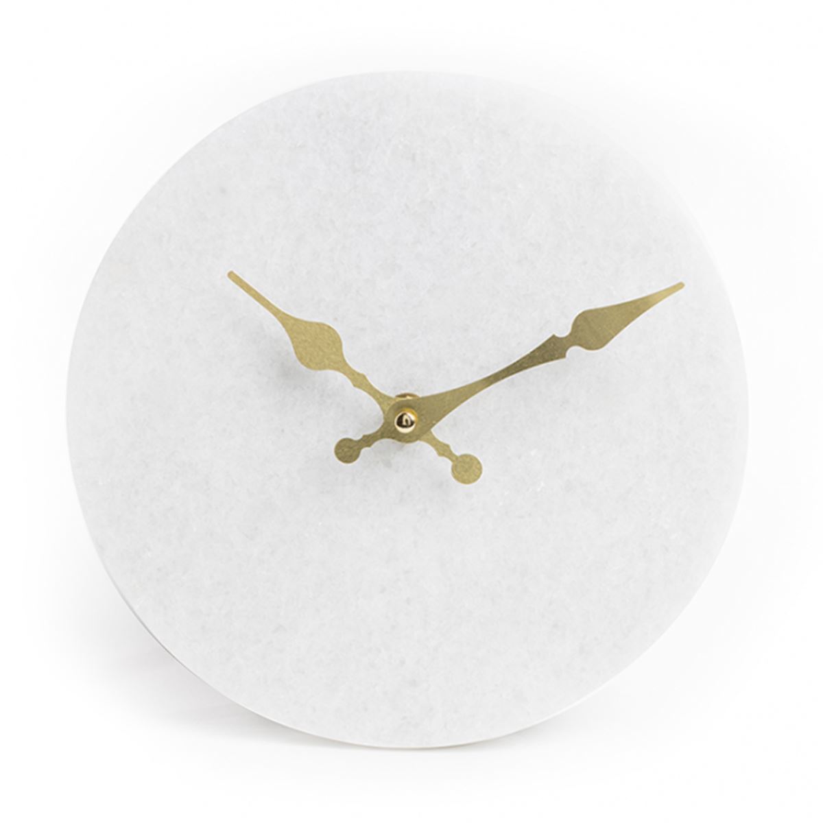 White Marble Clock & Gold Hands by Chickidee