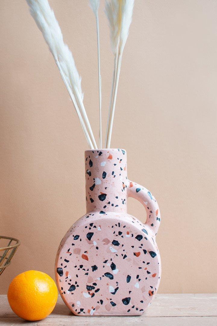 Pearly blush peach vase by Ian Snow
