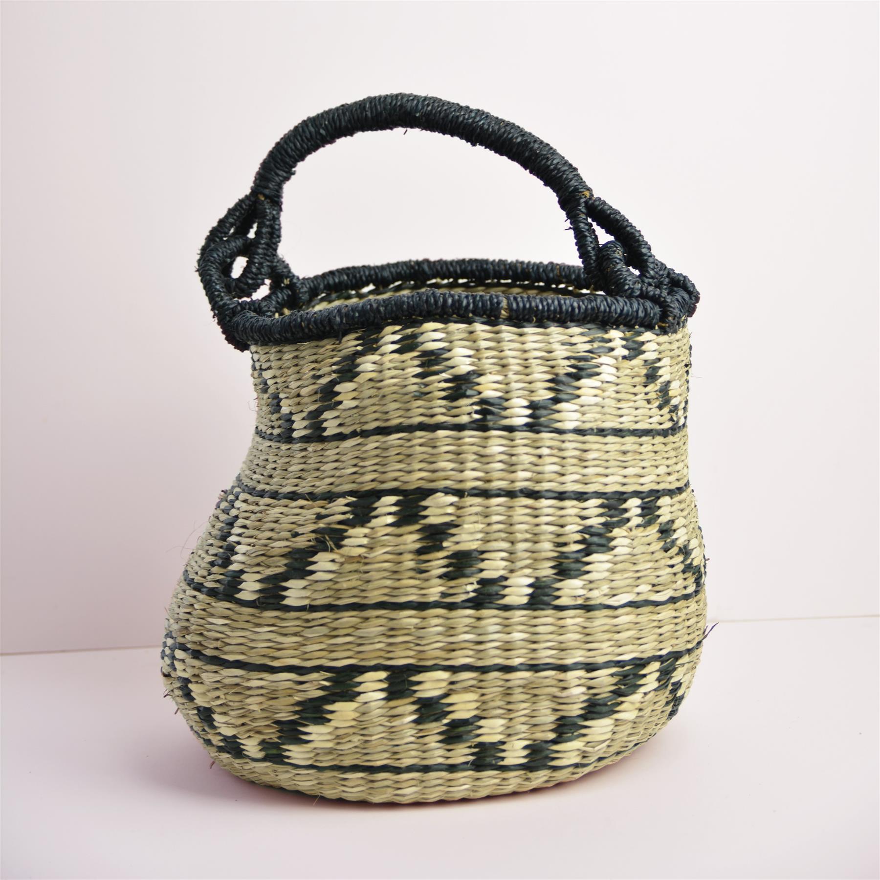 Abayomi Basket - Grey Zig Zag by Dassie Artisan