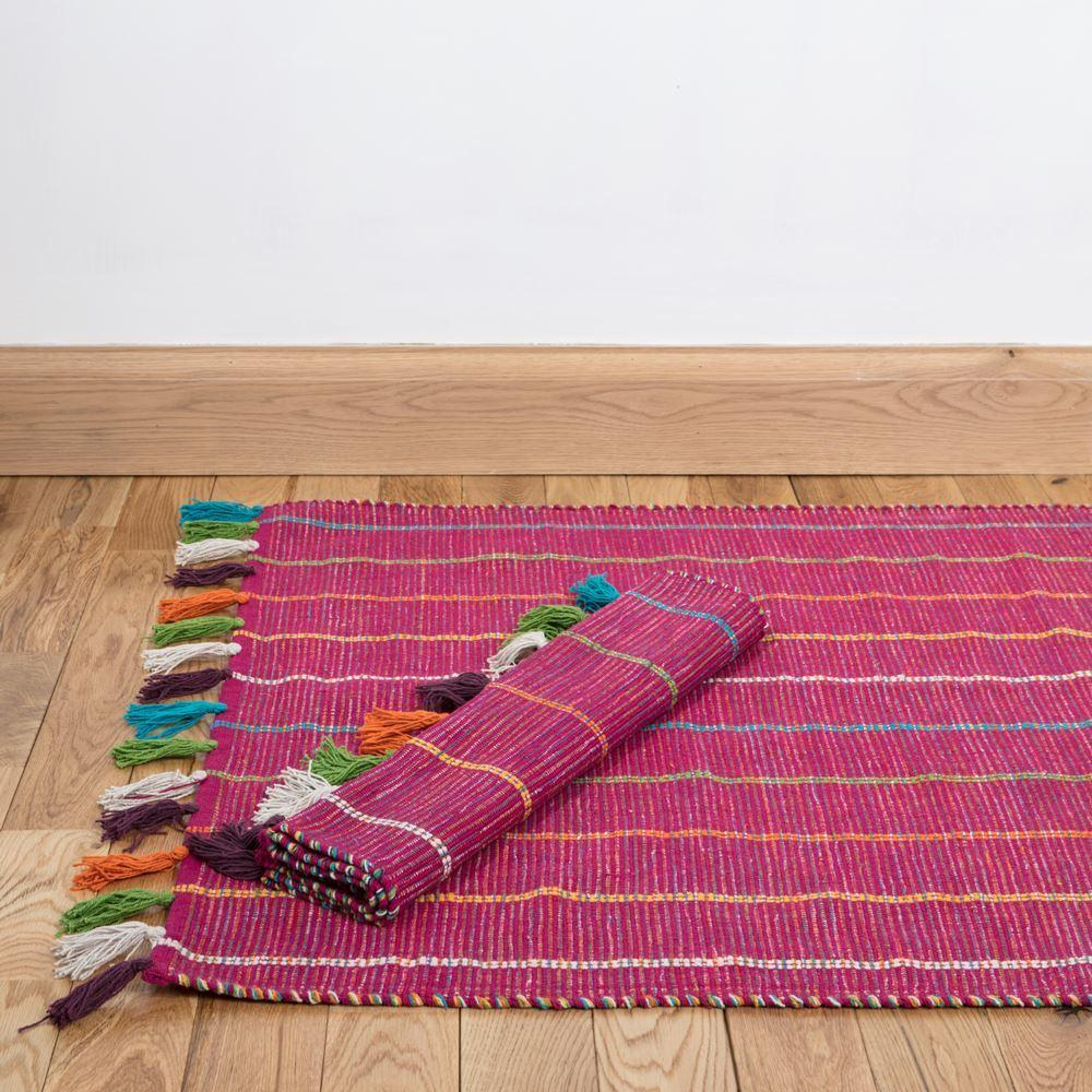 Large Fuschia Hand Woven Cotton Rug With Tassels by Dassie Artisan