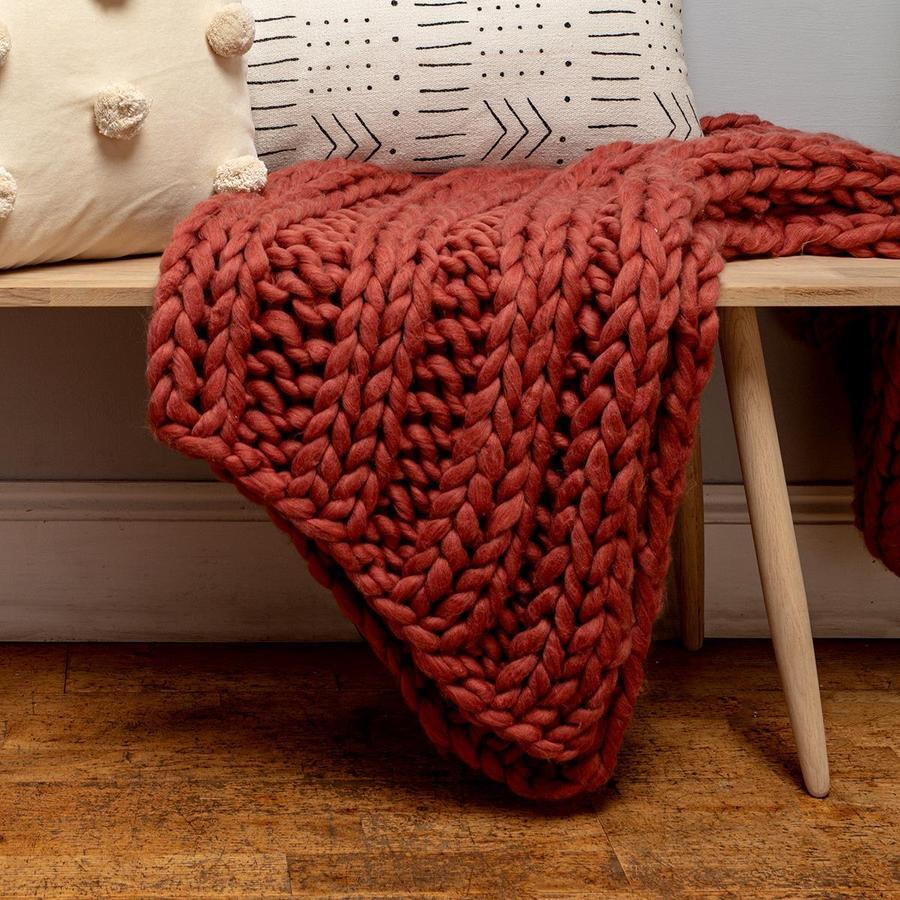 Rust Chunky Knit Throw by Chickidee