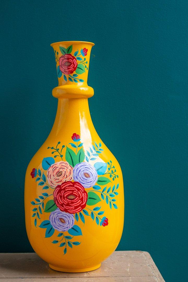 Handpainted iron vase yellow by Ian Snow