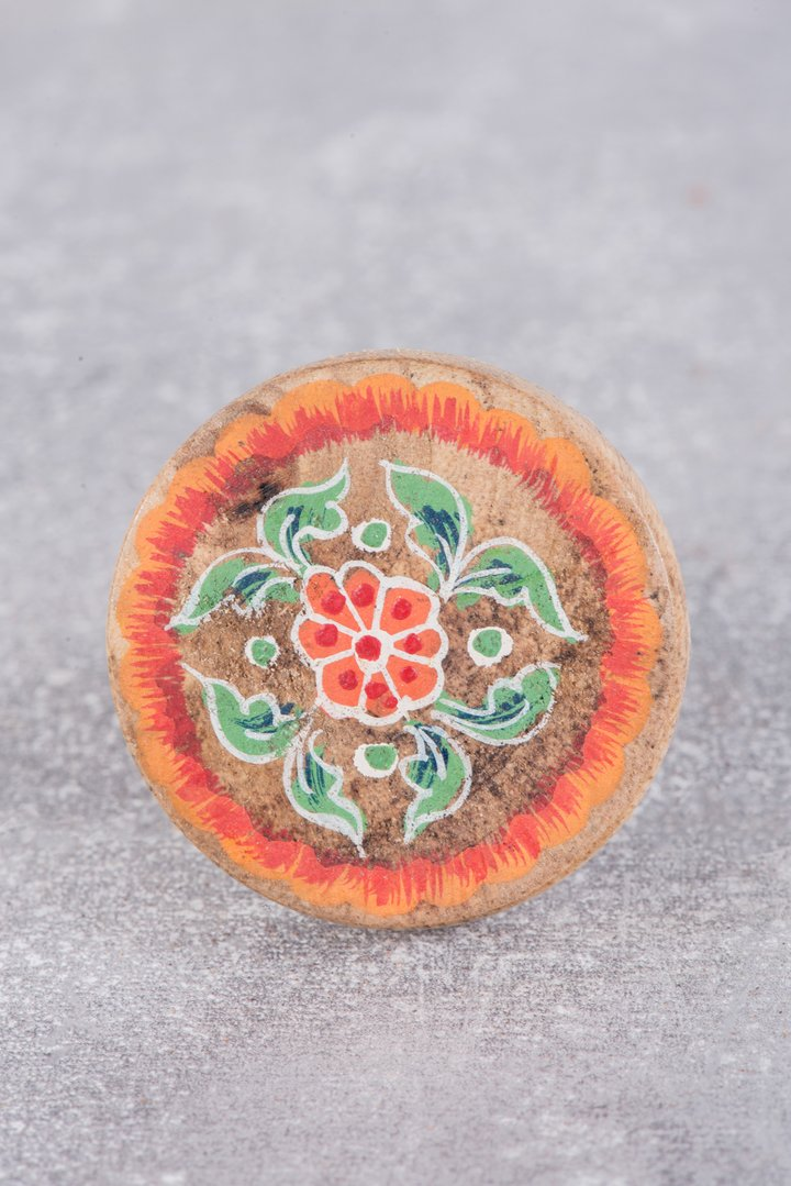 Blue & peach hand painted wooden door knob by Ian Snow