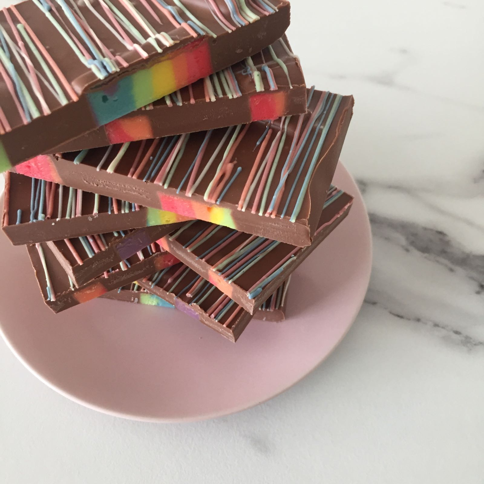 Milk Chocolate Rainbow Fudge Slab