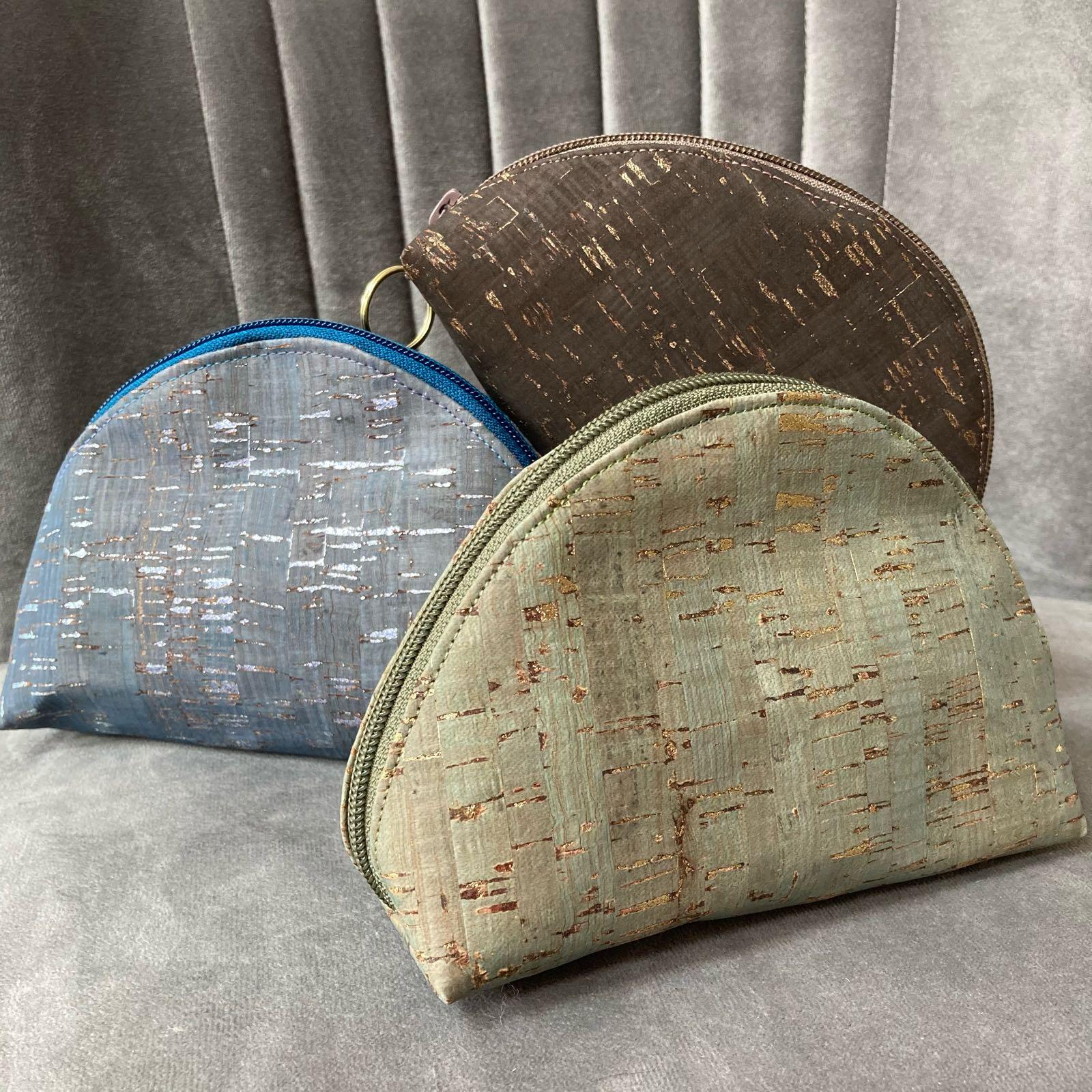 Cork fabric Make up pouch by Stella's stich craft
