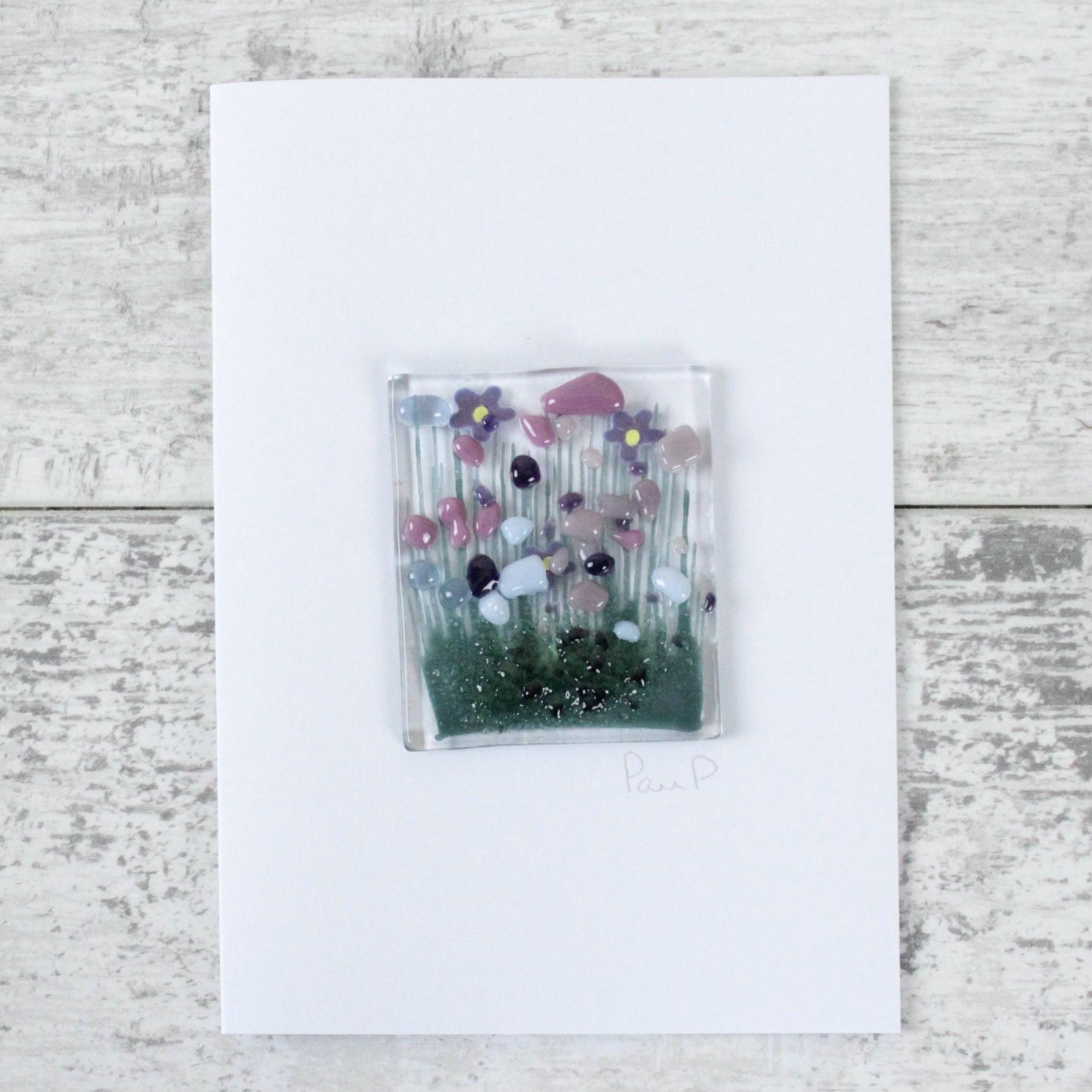 Violets - Fused Glass Card