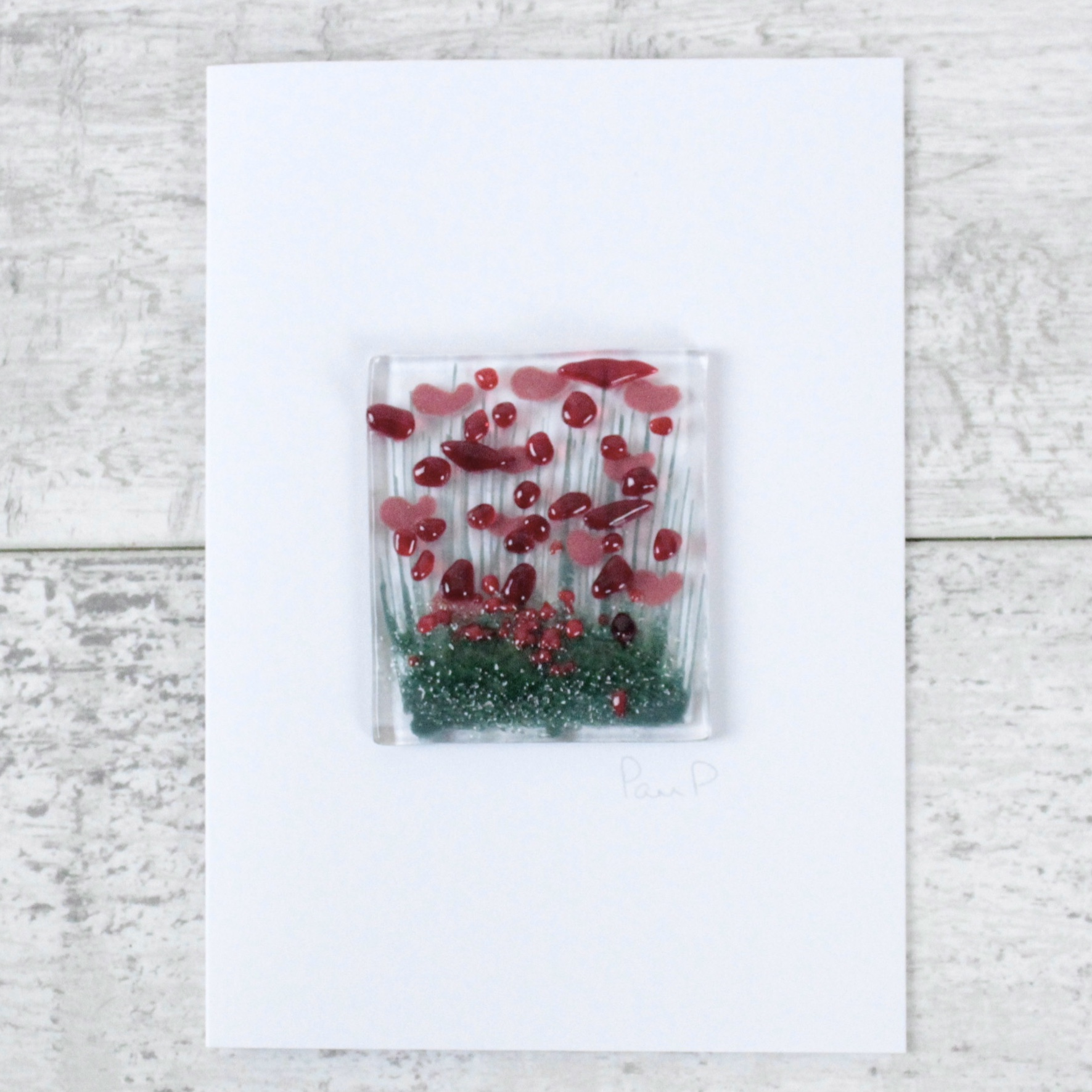 Poppies - Fused Glass Card