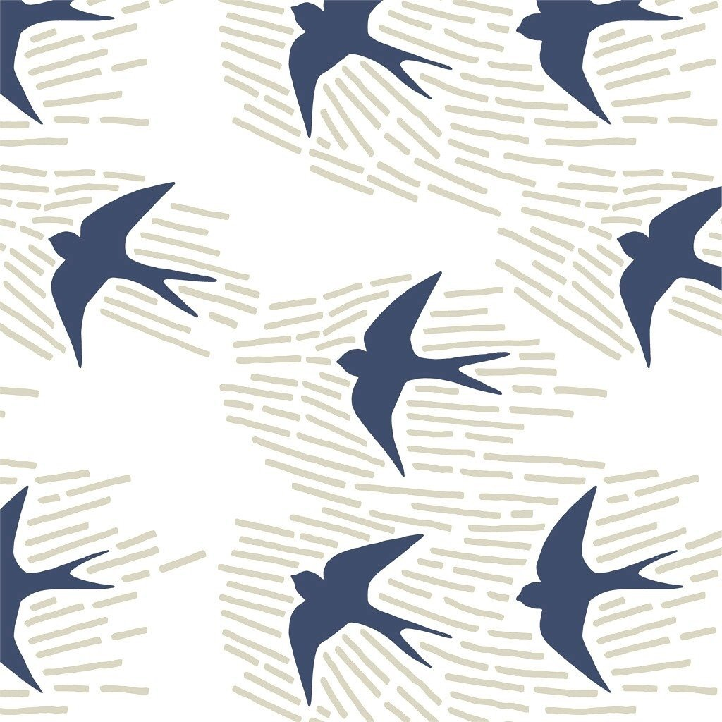 Whitehaven Bird Blue - 15cm Fabric Lampshade