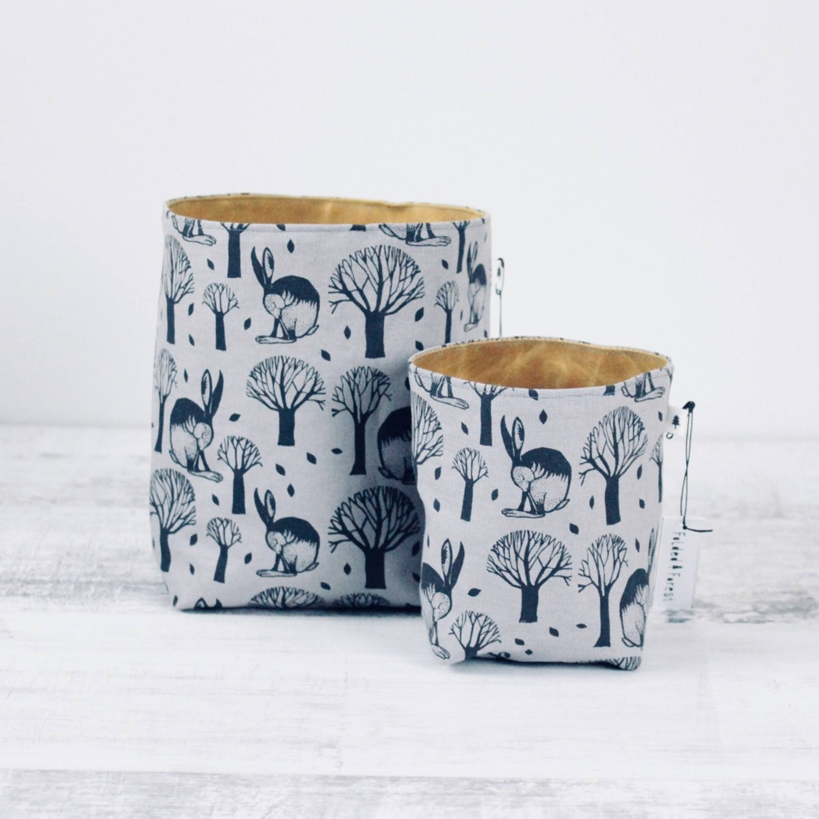 Screen Printed Fabric Containers - Sleeping Hare