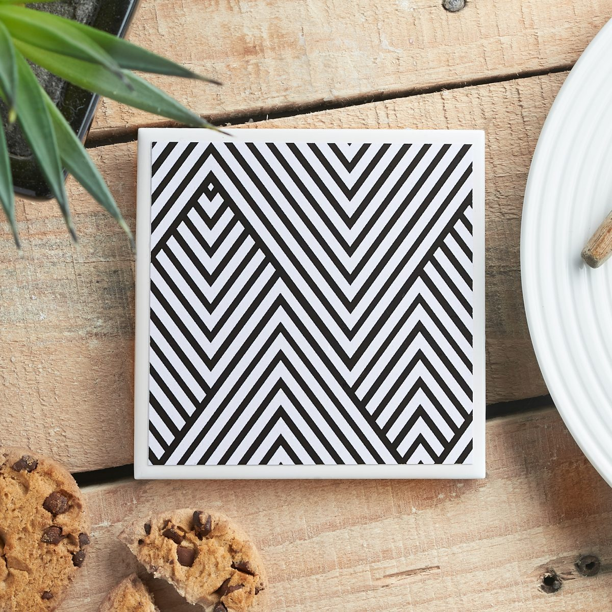 Monochrome Chevron Ceramic Coaster by Yellow Room