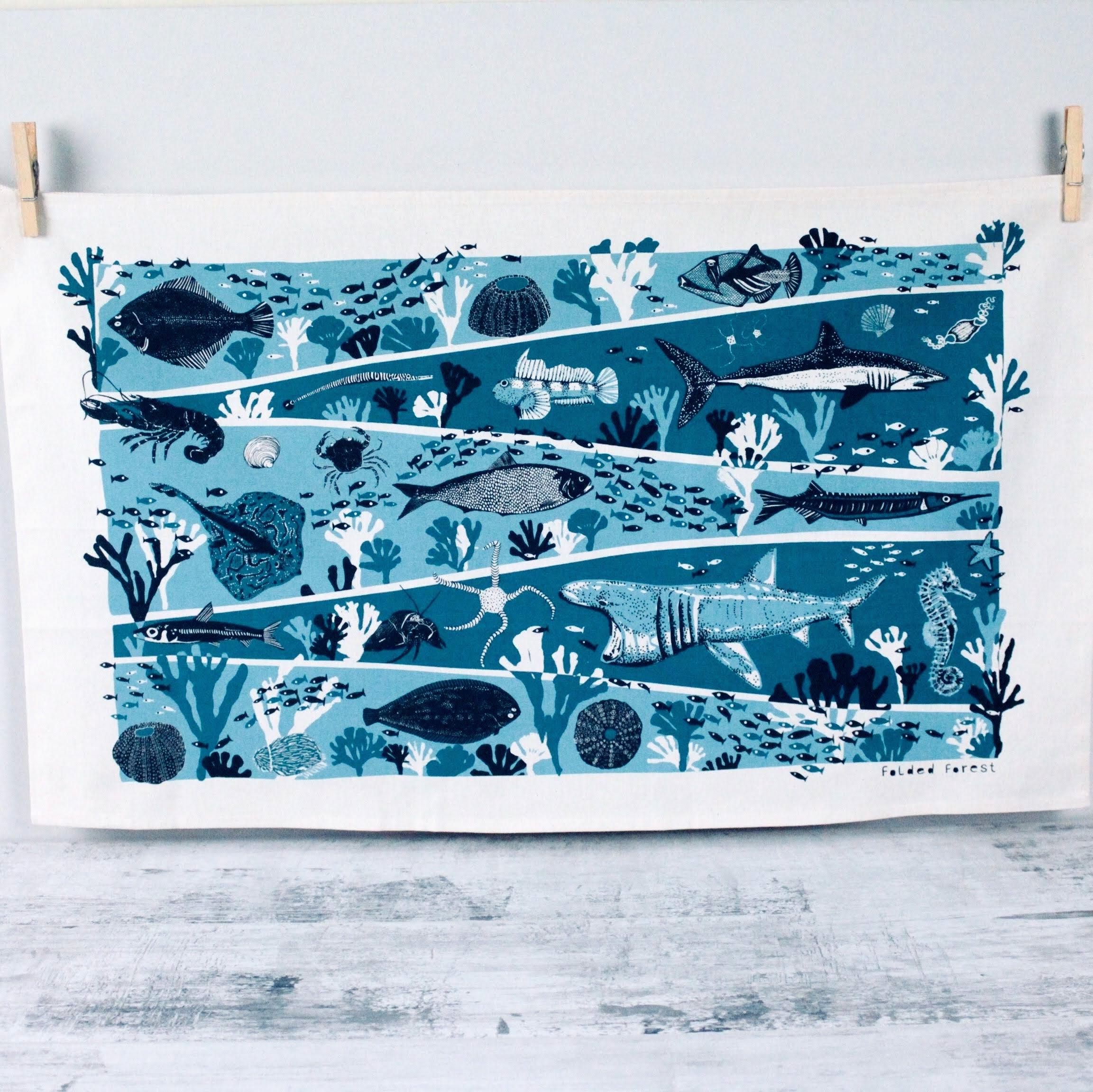 Cotton Tea Towel - Ocean