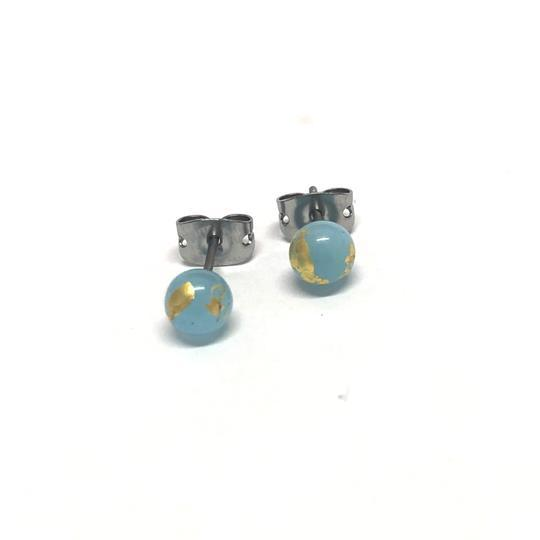 Ice Blue Glass Studs with Gold Leaf