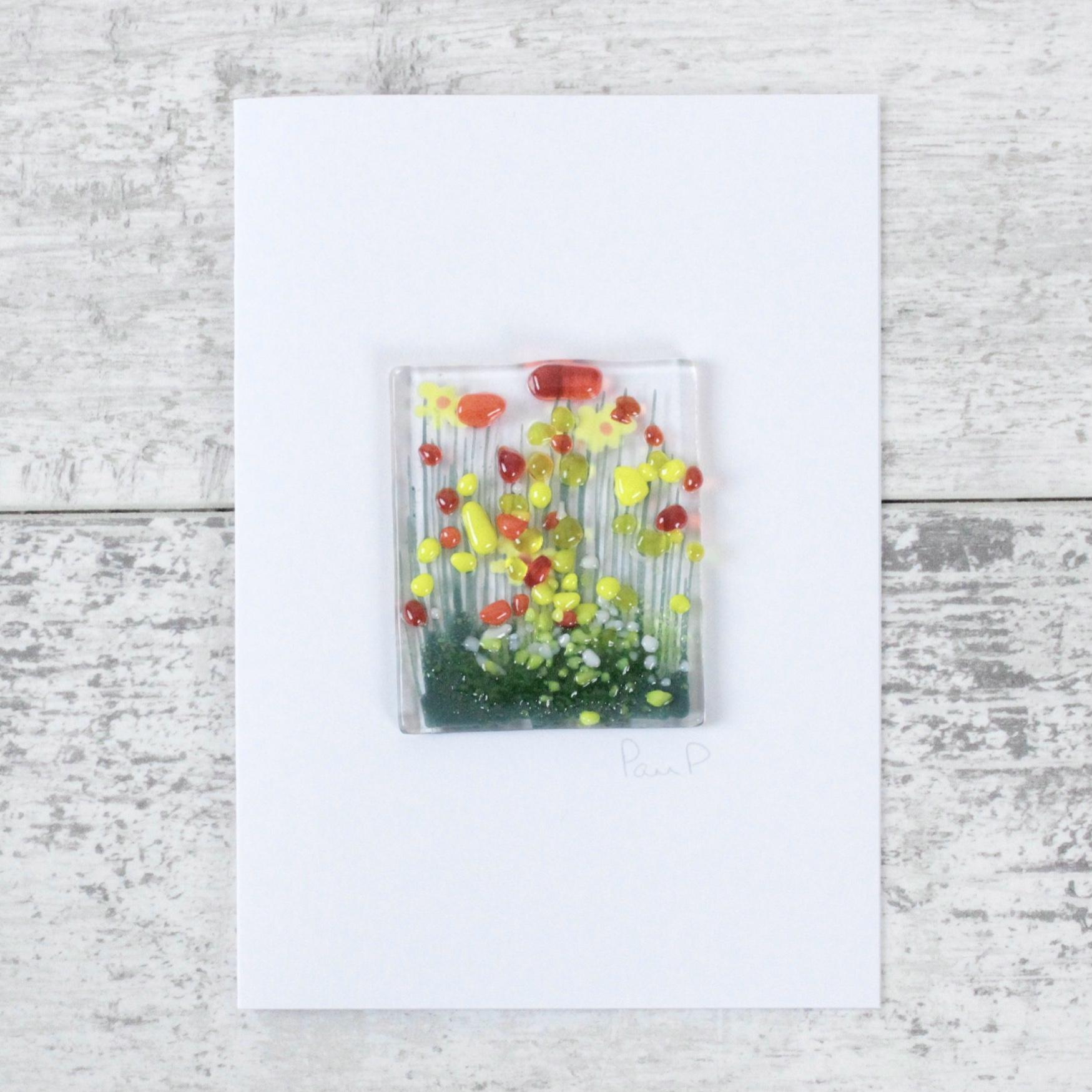 Daffodils - Fused Glass Card
