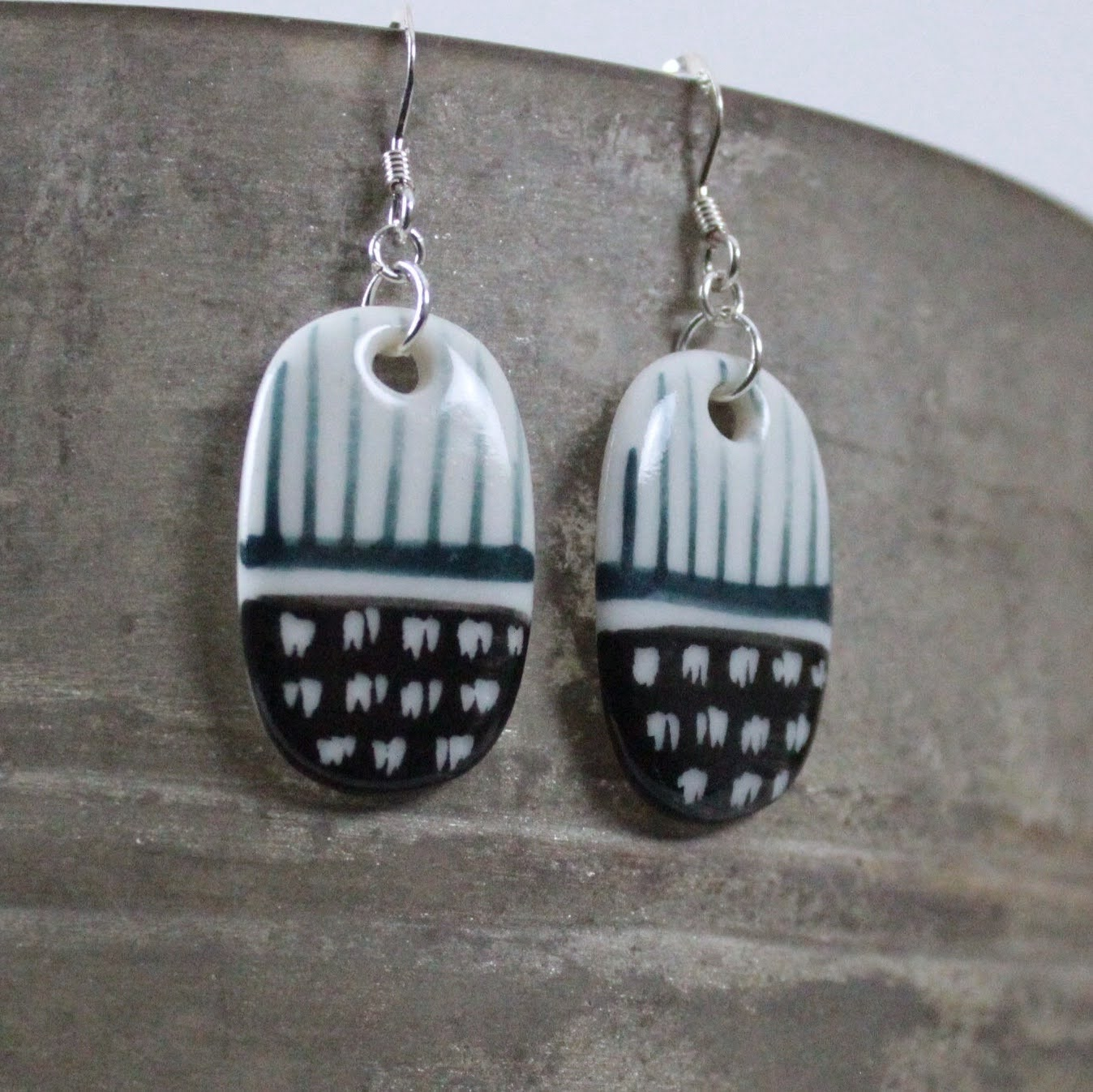 Spot & Stripe Porcelain Drop Earrings