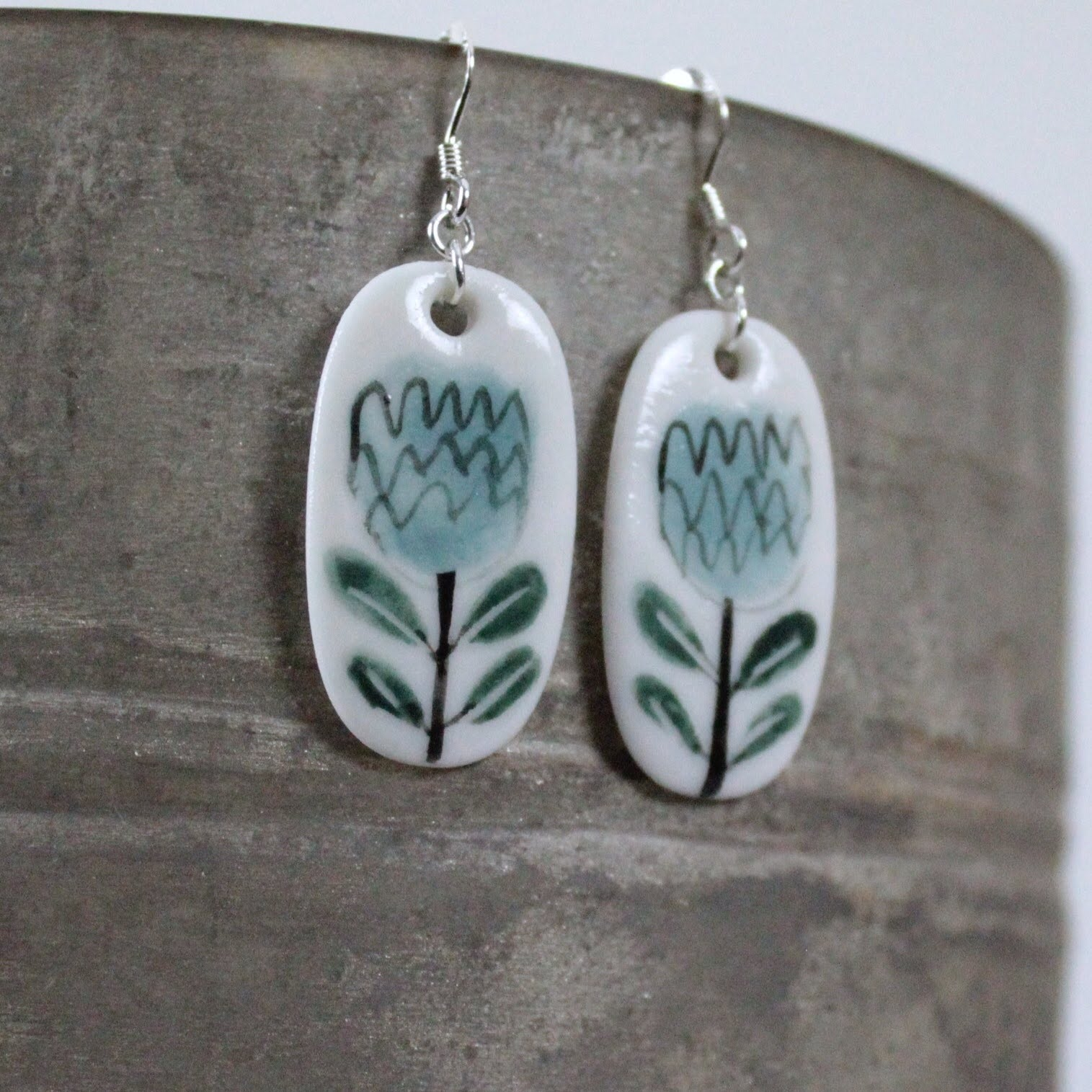 Blue Flower Porcelain Drop Earrings