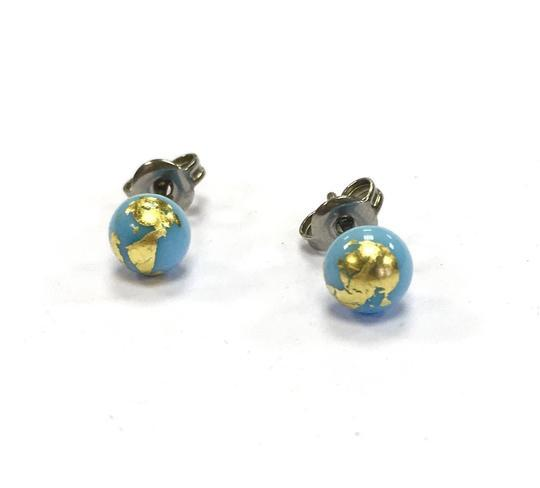 Sky Blue Glass Studs with Gold Leaf