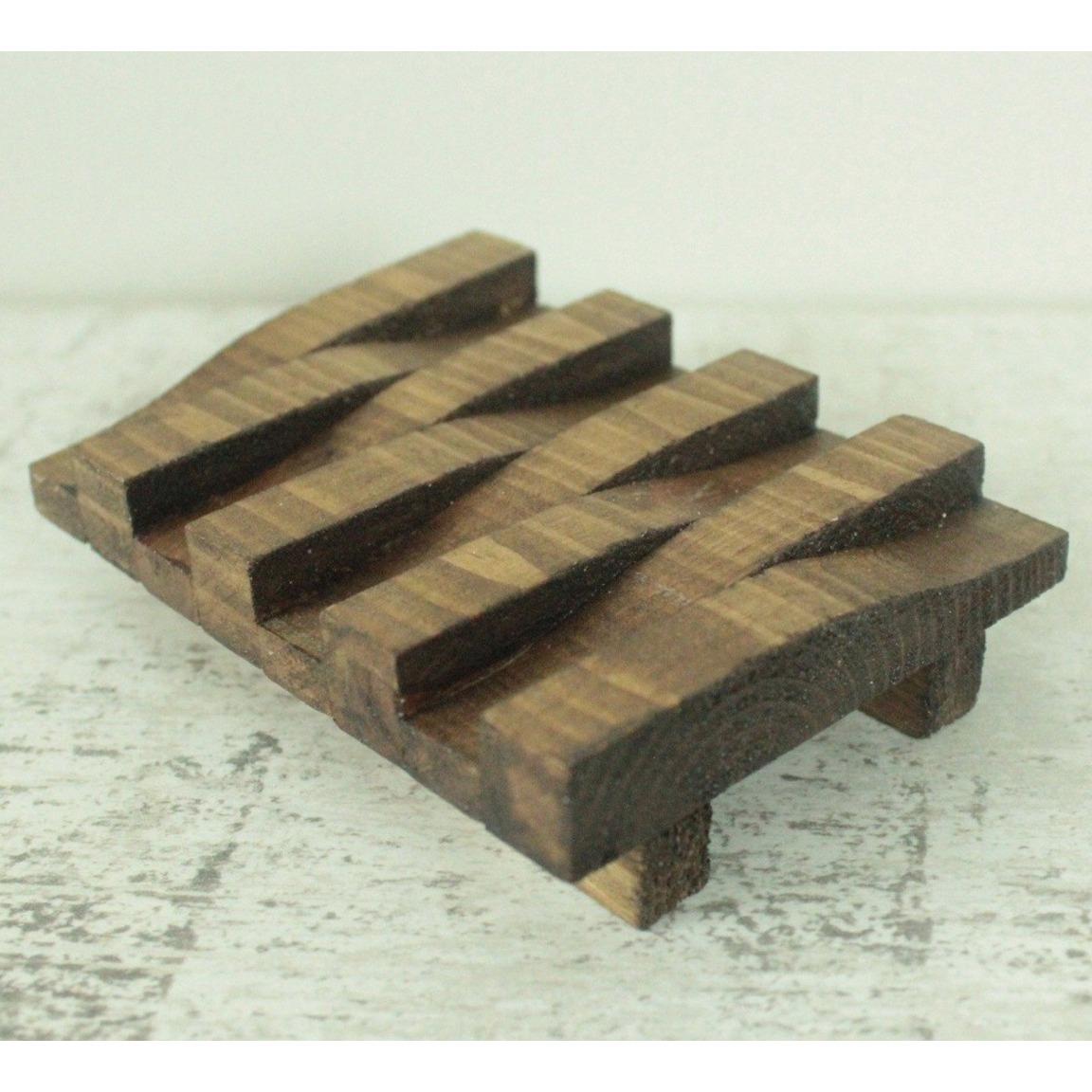 Wooden Soap Dish - Dark Wood Finish