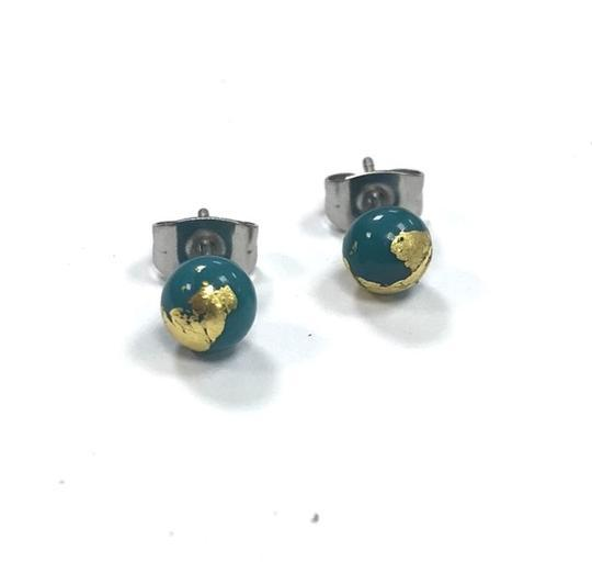Teal Glass Studs with Gold Leaf