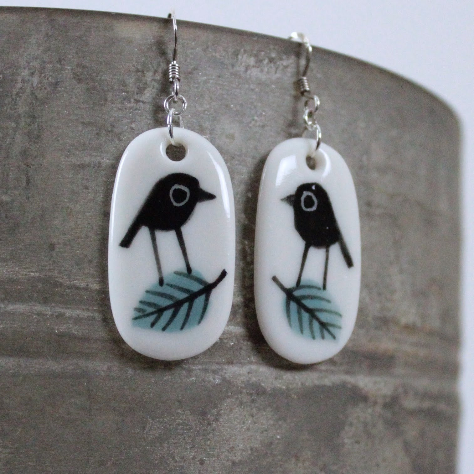 Bird & Leaf Porcelain Drop Earrings