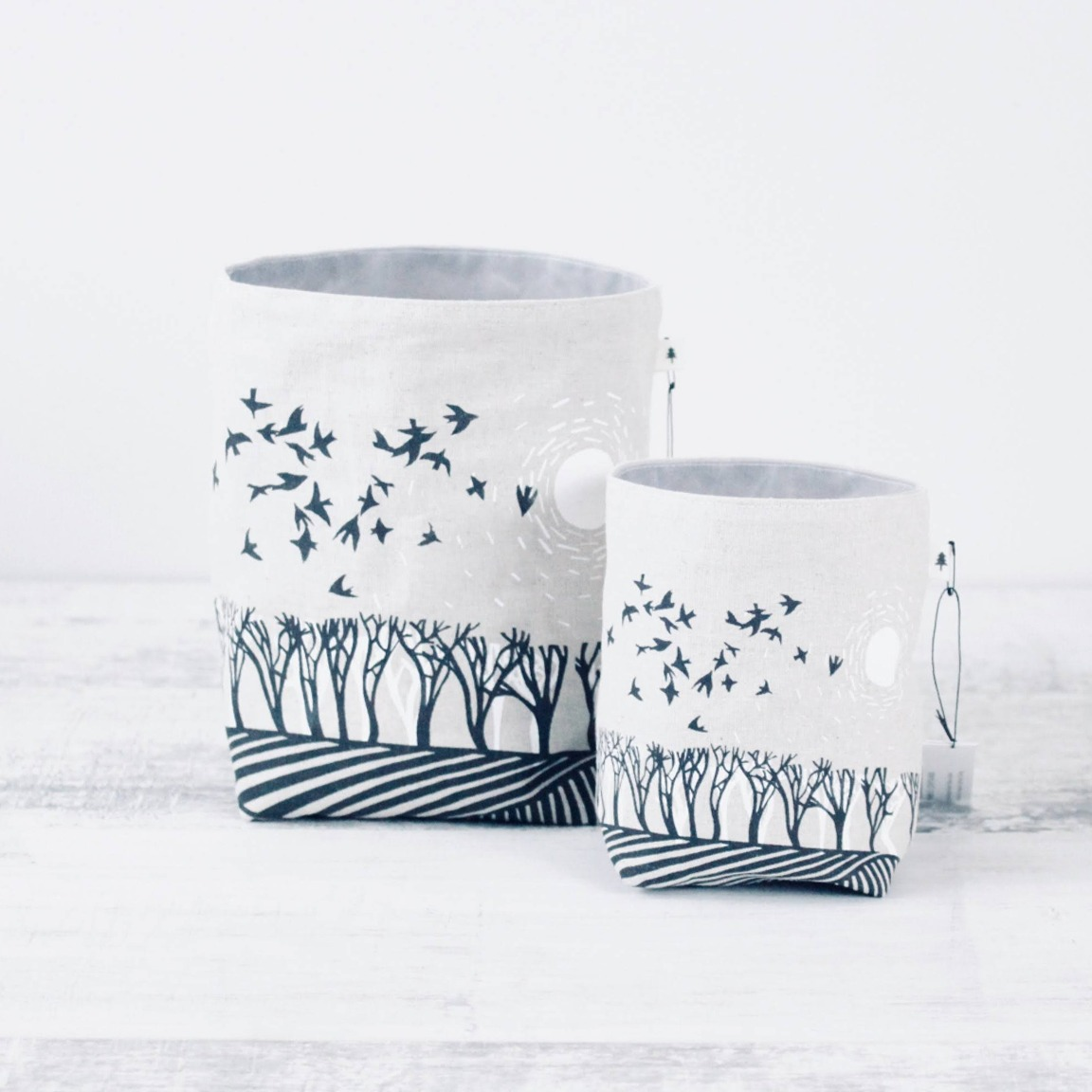 Screen printed Fabric Containers - Fields