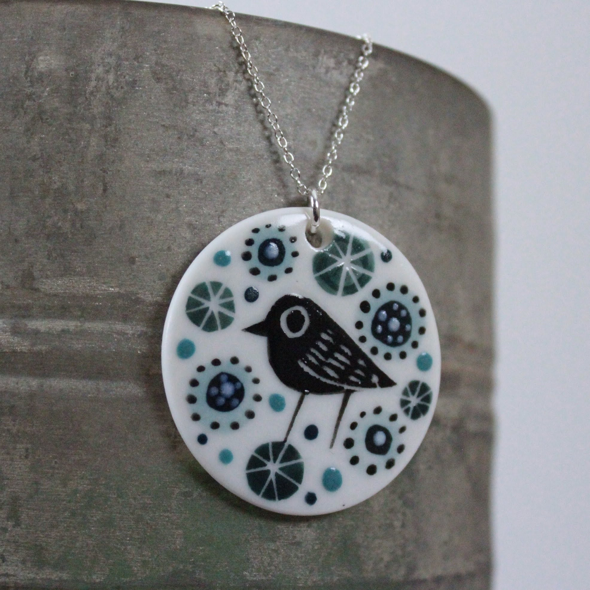 Bird & Flowers Porcelain Pendant