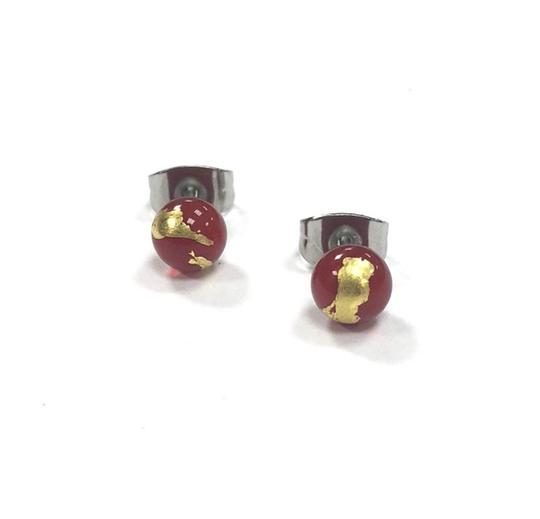 Red Glass Studs with Gold Leaf